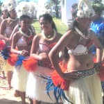 The girls from the Areora/Makatea Village wait to perform their Kapa Rima or Action Song. Custome designed by Aunty Rongo