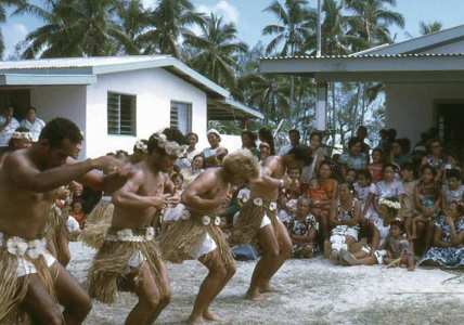 Samuela Ariki, as a young man, twenty years ago  dancing at a Mauke Celebration