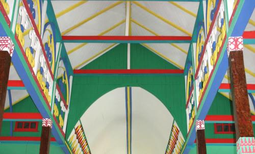 Roof structure of the Divided Church showing the differing forms