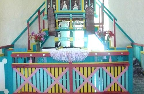 The newly painted Pulpit in the  Divided Church Mauke