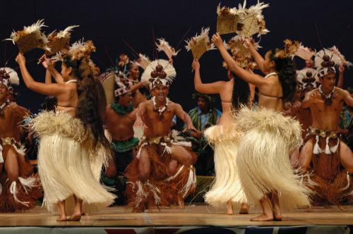 Mauke team performing in the constitution celebrations in Rarotonga 2005